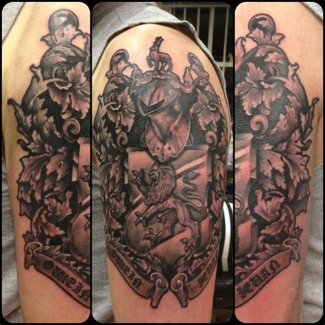 family tattoo half sleeve ideas family crest tattoo images designs