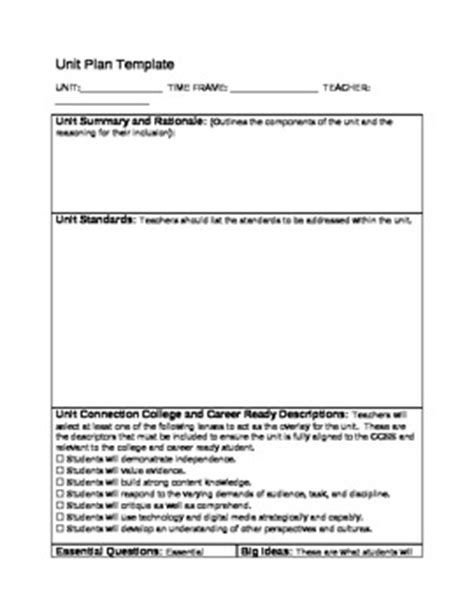 backward design unit plan template by jason bletzinger tpt
