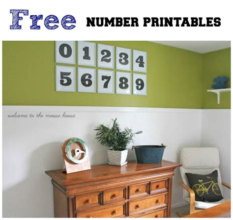 Free Printable Numbers Wall Art | free number printables wall art welcometothemousehouse com