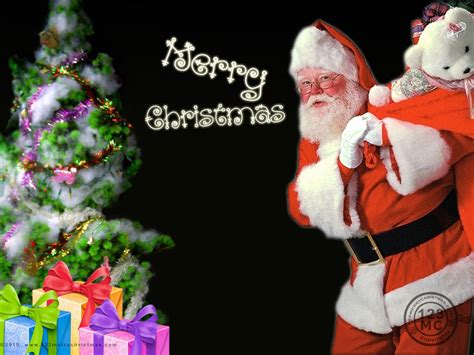 santa clause with gifts and tree