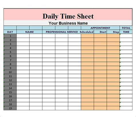 Daily Timesheet Template 10 Free Download For Pdf Excel Free Timesheet Template Excel