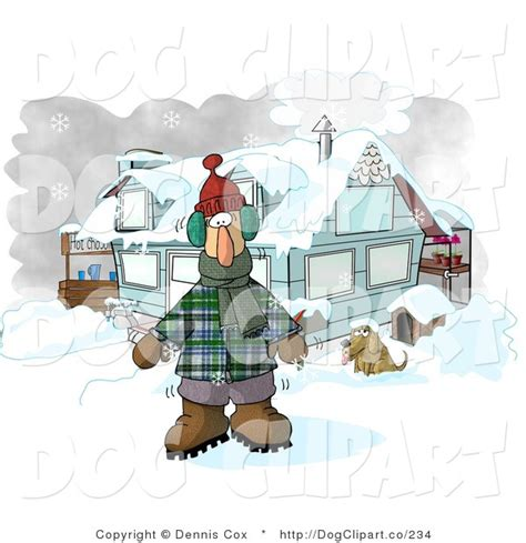 dog house clothing clip art of a man dressed in winter clothes standing by a house with a dog and hot