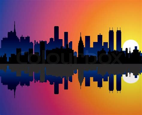 city background drawing vector city background with reflection in water stock