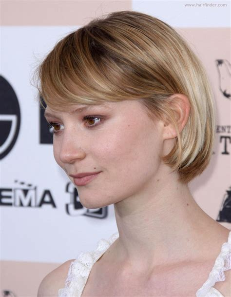 Mia Wasikowska with her hair in a bob cut