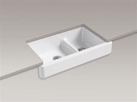 short apron farmhouse sink kohler 174 whitehaven 174 double bowl cast iron sink short