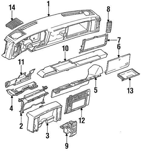 parts 174 gmc sonoma frame components oem parts oem instrument panel for 1988 chevrolet s10 gmpartscenter net