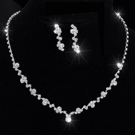 Halskette Braut by Silver Tone Tennis Choker Necklace Set Earrings
