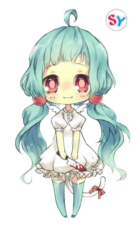 libro chibi girls a cute ninapon render blue hair anime chibi by seikiyukine on
