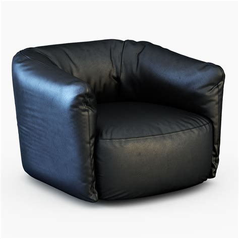 leather swivel armchair santa monica leather swivel armchair poliform 3d model