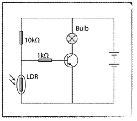 transistor best functions 7 the diagram shows a circuit of an automatic switch the bulb will light up when