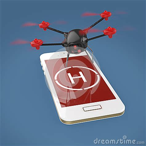 small camera drone hovering above the touchscreen of