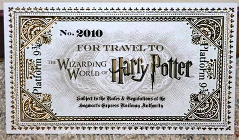 printable universal studios tickets the ticket to platform 9 3 4 for travel to the wizarding