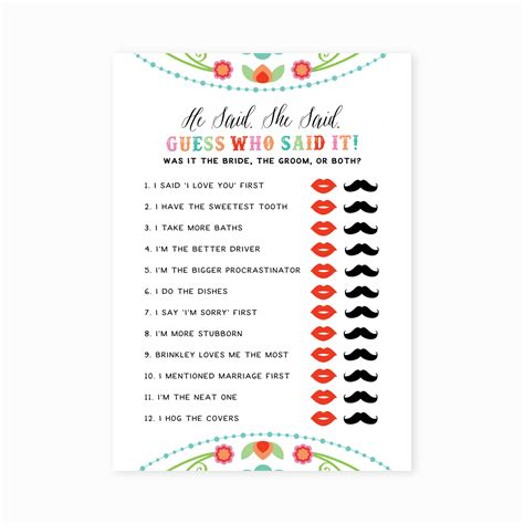 he said she said bridal shower template printable he said she said bridal shower