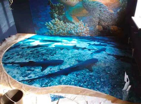 3d ocean floor designs amazing 3d floors transform ordinary washrooms into