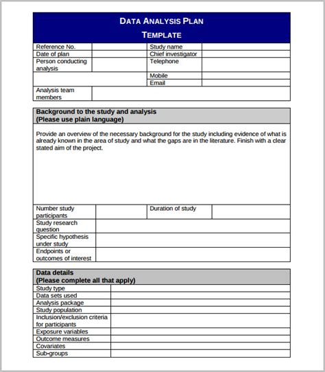 Excel Statistical Analysis Template data analysis template 9 word pdf format