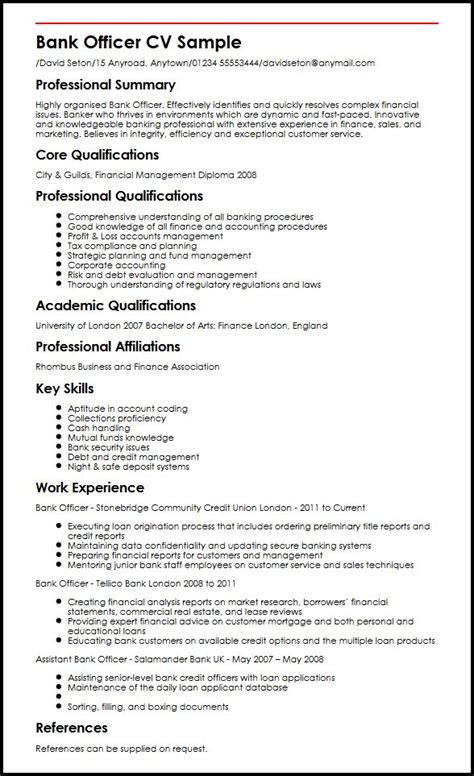 Resume Format In Banking Bank Officer Cv Sle Myperfectcv