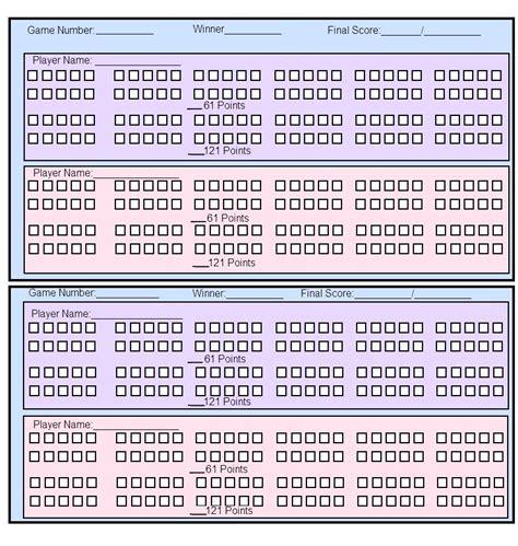 printable paper cribbage board paper cribbage score sheet