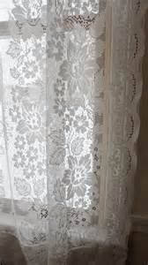 Jcpenney Lace Curtains Vintage Shabby Floral Chic White Lace Jc Penney Curtain Drapes 59 Quot X 63 Quot Ebay