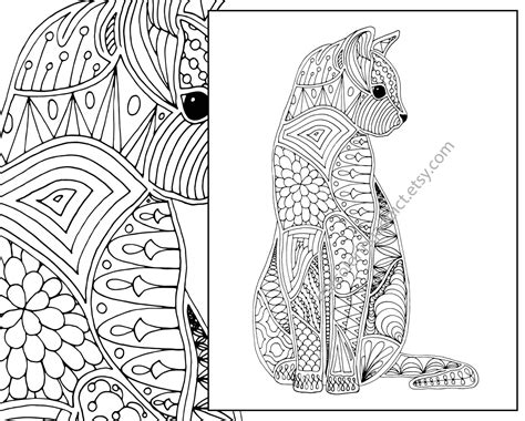 advanced cat coloring pages 95 coloring pages for adults printable pdf simple