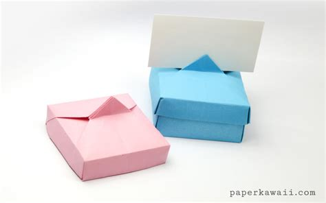 Origami Name Card - origami card holder box paper kawaii