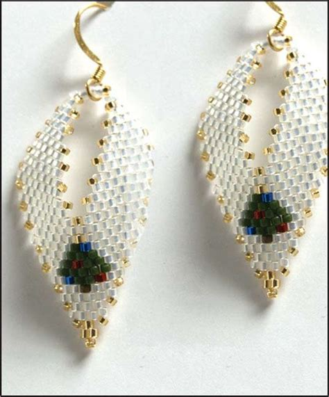 Beaded Leaf Earrings tree russian leaf earrings beading pattern at