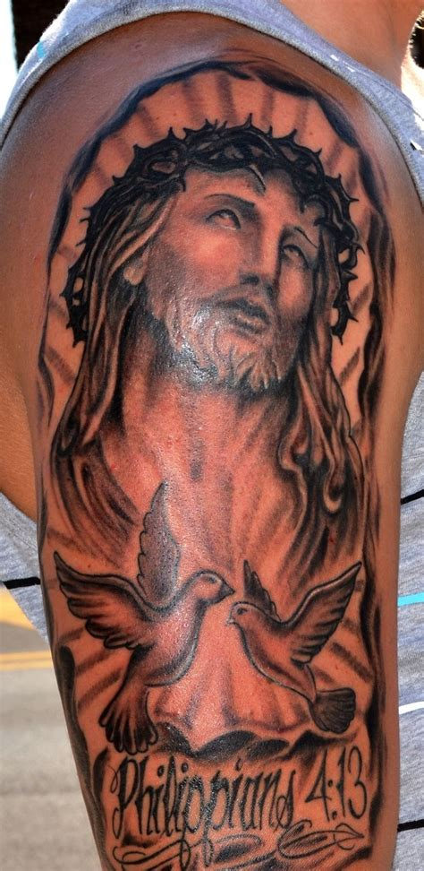 christ tattoo jesus half sleeve work