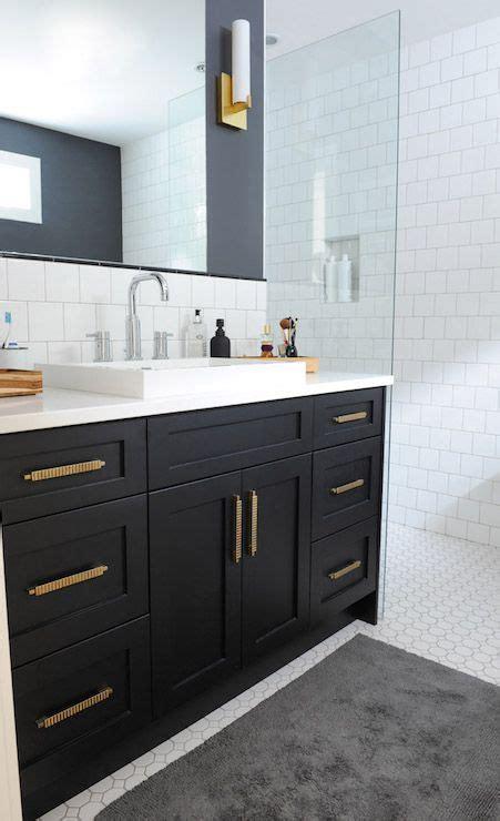 black bathroom vanity with gold hardware vintage
