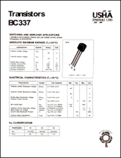 bc337 npn transistor datasheet pdf datasheet for bc337 transistor switching and plifier applications suitable for af driver