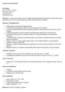 Lecturer Resume Sample fresher teacher resume resume seangarrette co fresher