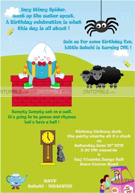 Nursery Rhymes Birthday Theme On Nursery Rhymes Theme Nursery Rhyme Rectangular Invite Untumble