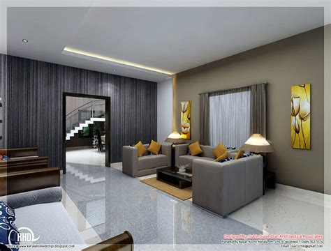 Home Interior Living Room Awesome 3d Interior Renderings Kerala House Design