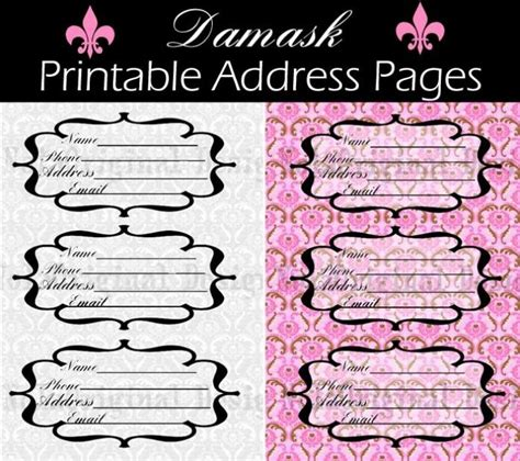 printable address book pages template printable address book pages printables pinterest