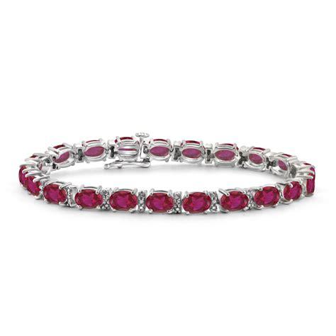 sterling silver created ruby bracelet