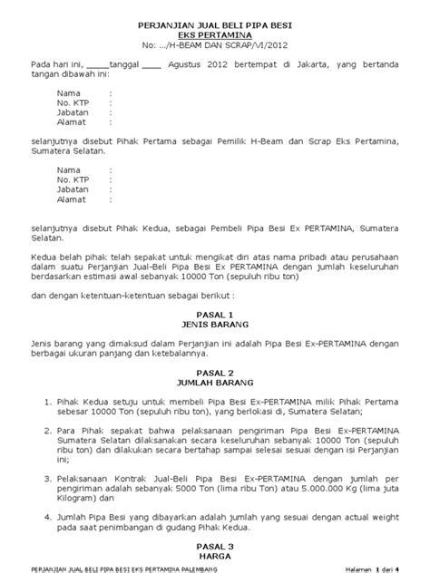 draft perjanjian jual beli pipa besi 2