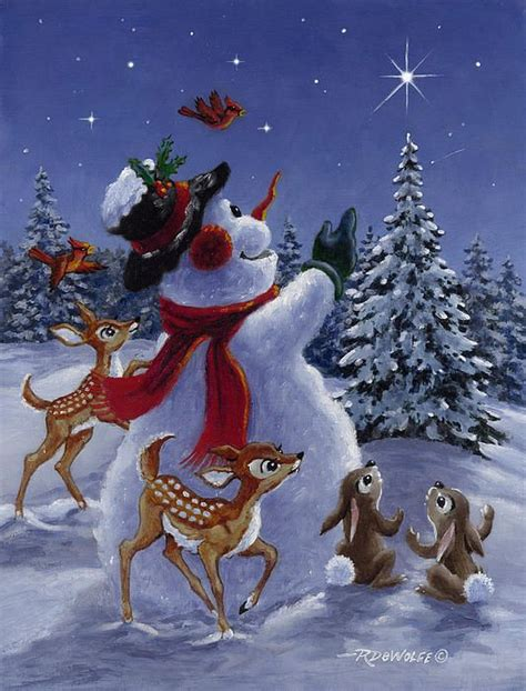 christmas deer phillips of canvas print canvas by richard de wolfe snowman and deer