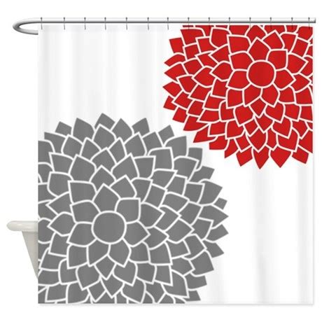 Zen Flowers Gray Red Shower Curtain By Marshenterprises
