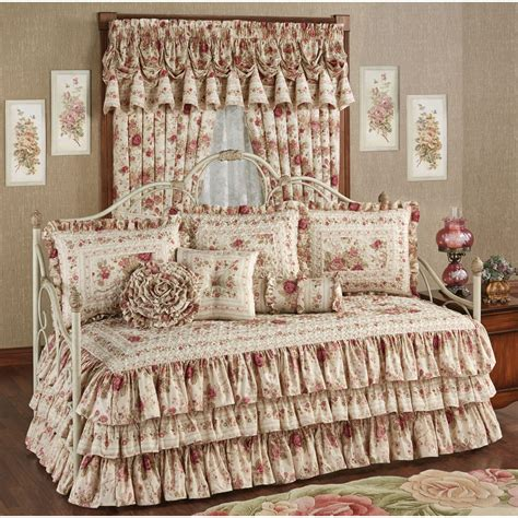 day bed comforter heirloom rose floral ruffled daybed bedding set
