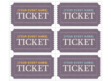 ticket template compatible with avery ticket template