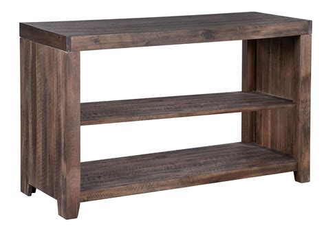 Sofa Table With Shelf by Magnussen Home Caitlyn Rustic Rectangular Sofa Table With