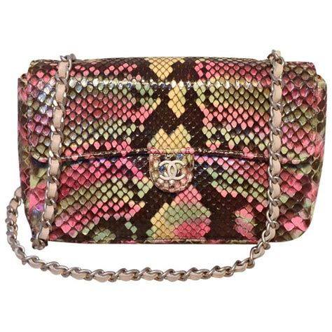 Clutch Python Multi Rainbow L Size chanel multi color python snakeskin mini classic flap