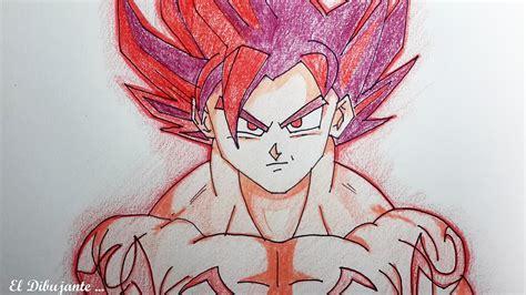 imagenes de goku rojo como dibujar a goku ssj dios rojo el dibujante youtube