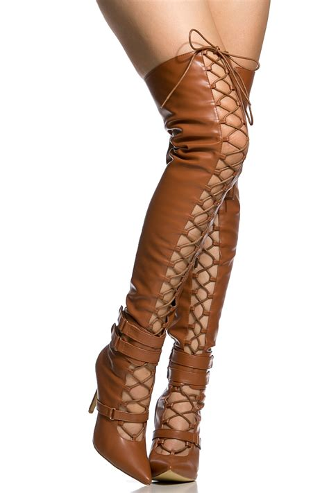 camel thigh high boots camel faux leather lace up pointed toe thigh high boots