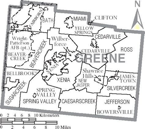 Greene County Oh Records File Map Of Greene County Ohio With Municipal And Township Labels Png