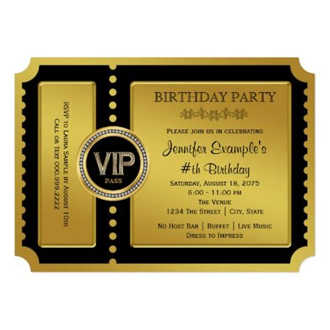 vip golden ticket birthday party invitation ladyprints