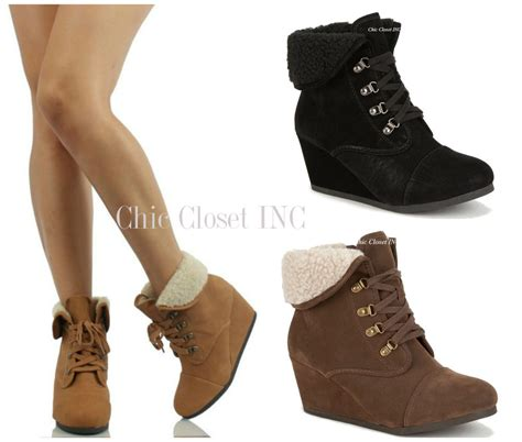 high heel wedge booties womens high heel wedge booties cuffed ankle lace up combat