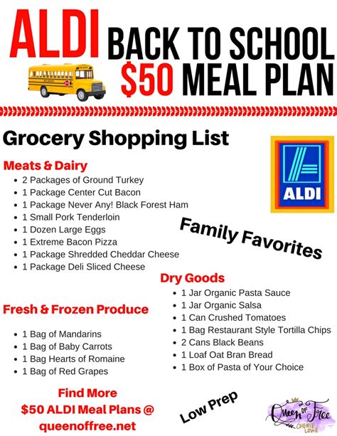aldi printable shopping list 50 aldi back to school meal plan queen of free