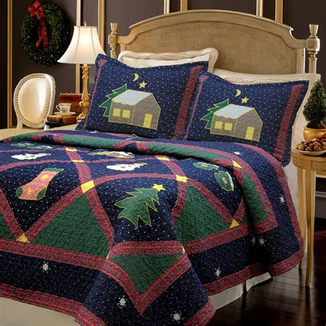 christmas comforters and quilts christmas night 3 piece quilt set bedspread coverlet ebay