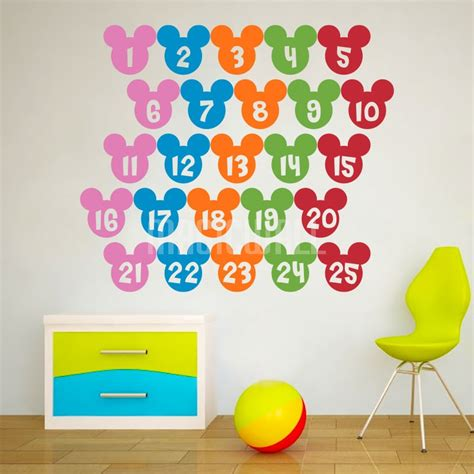 Wall Stickers Colorful Numbers Mickey Mouse Nursery Wall Decals For Nursery Canada