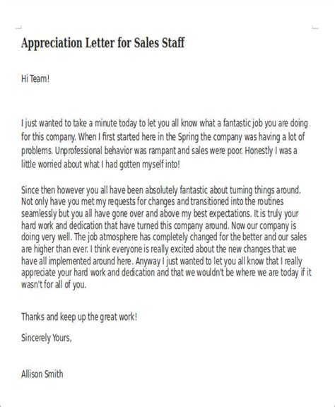 appreciation letter to sales team 50 appreciation letter sles sle templates
