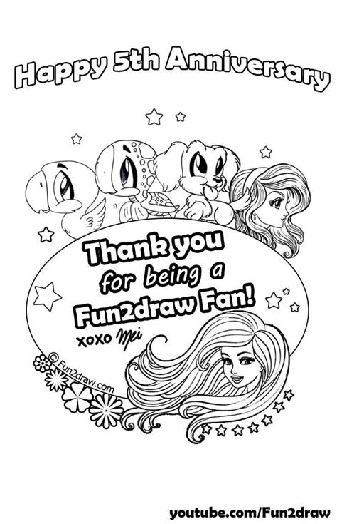 fun2draw freebies fifth year anniversary coloring page